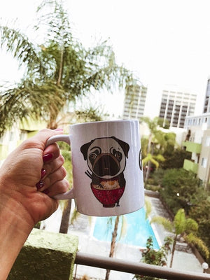 Pug eating Ramen Coffee Mug