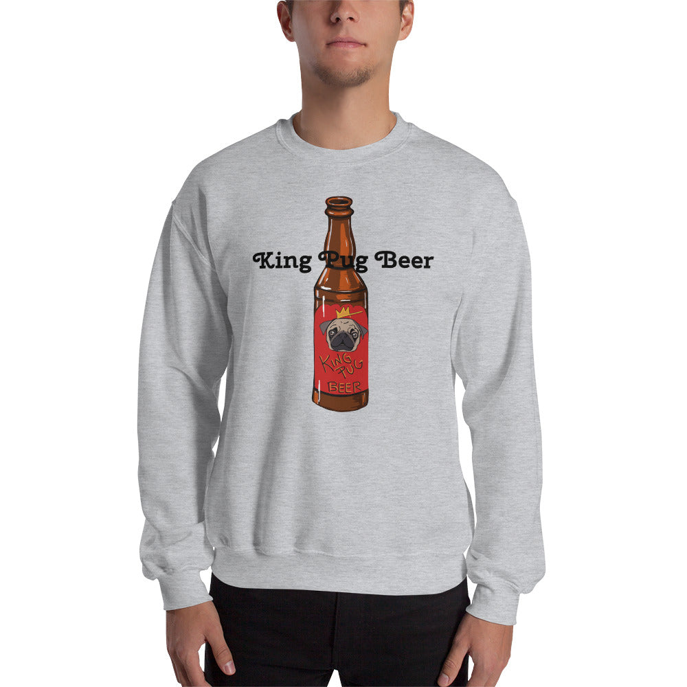 King Pug Beer Sweatshirt I White / Grey - pickie shop