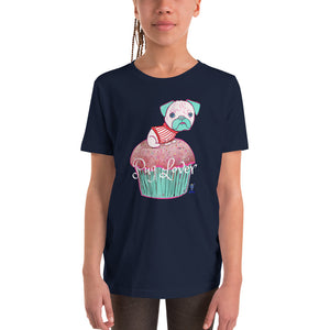 Pug on the cupcake Youth T-Shirt I Black / Navy - pickie shop