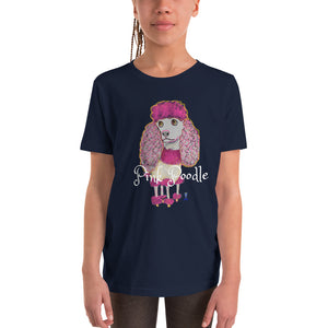 Pink Poodle Youth T-Shirt I Black / Navy - pickie shop