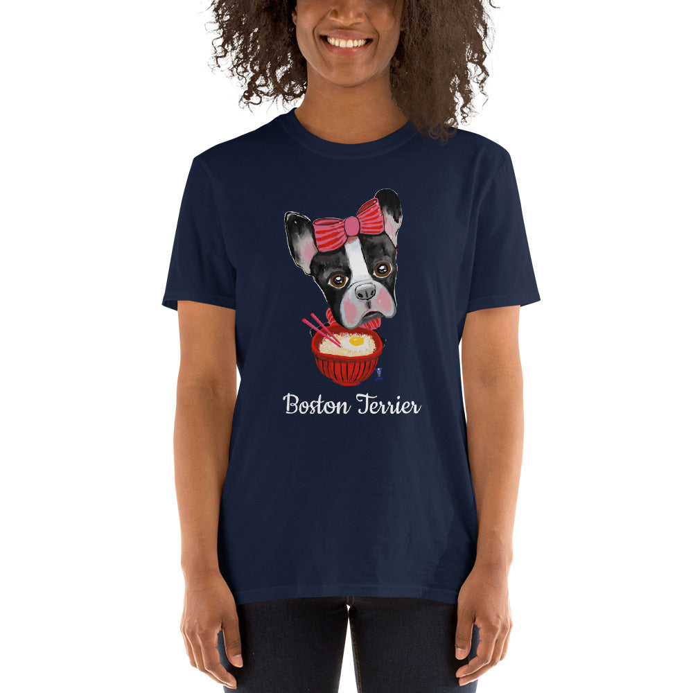 Boston Terrier eating Ramen T-Shirt I Black / Navy - pickie shop