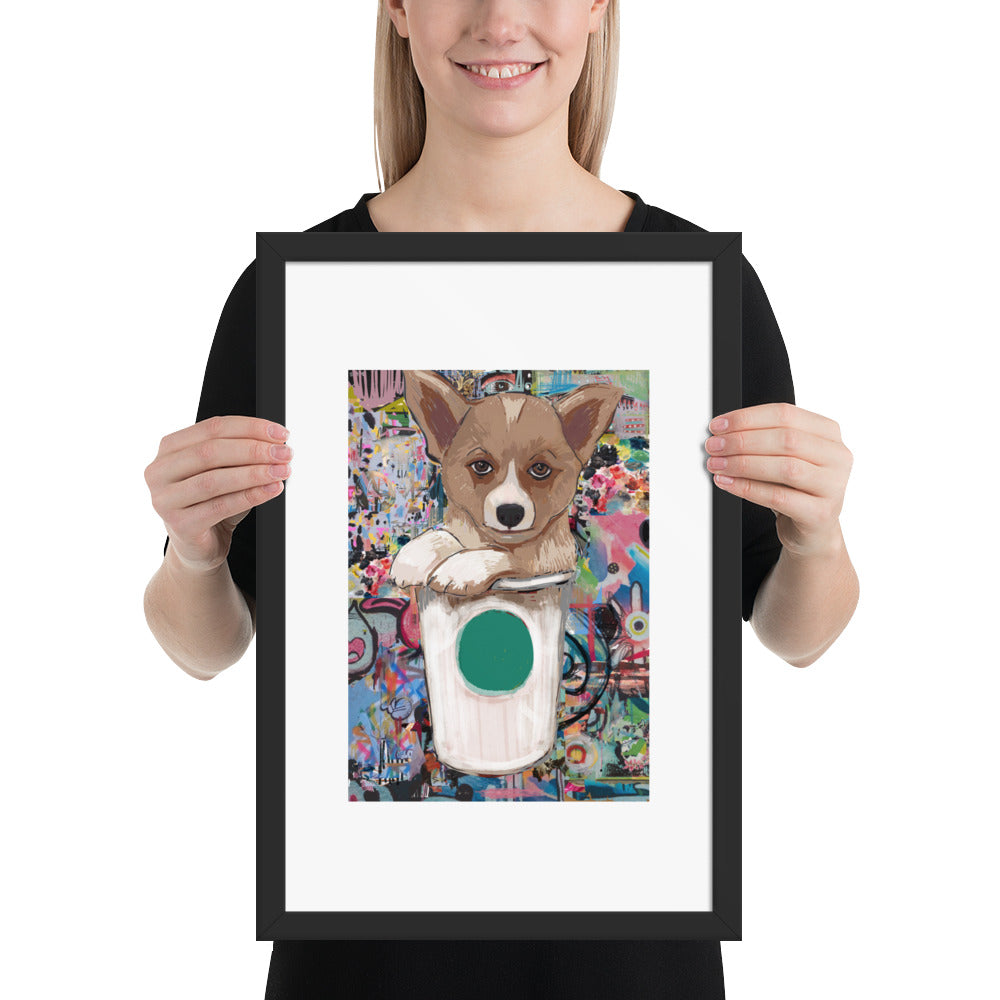 Corgi loves Coffee Framed poster - pickie shop