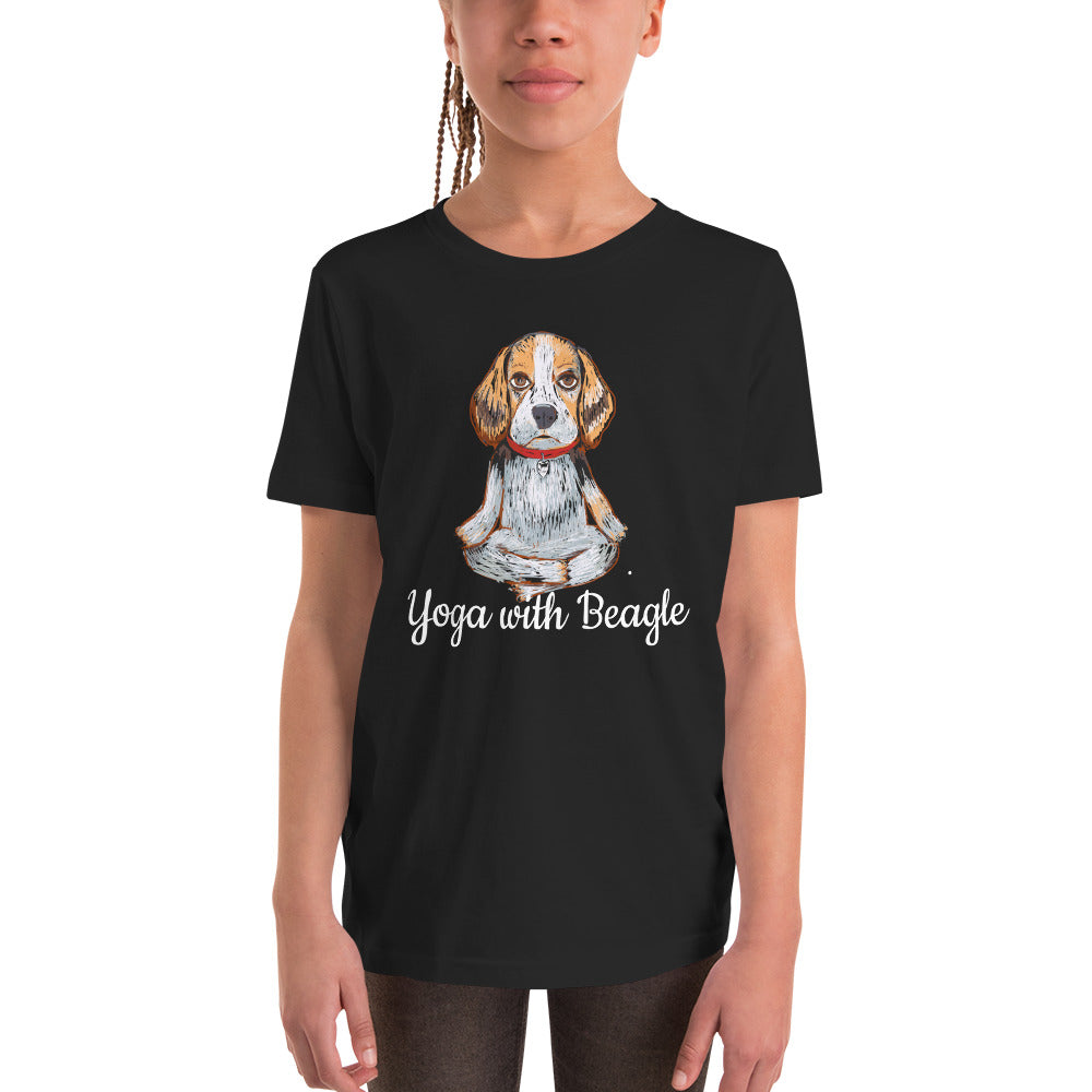 Yoga with Beagle Youth T-Shirt i Black / Navy - pickie shop