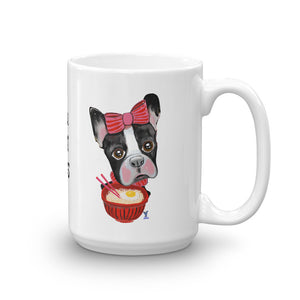 Boston Terrier eating Ramen Coffee Mug - pickie shop