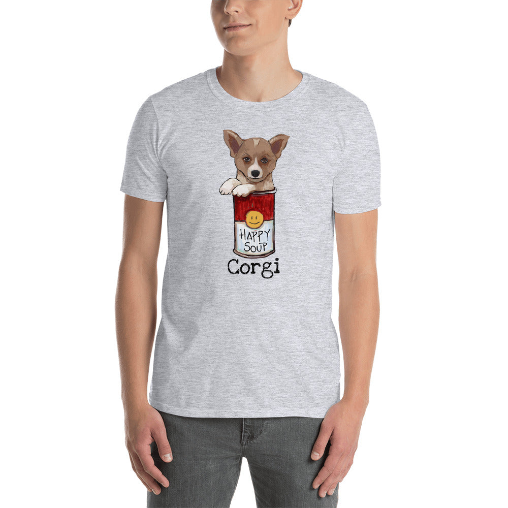 Corgi in the Happy Soup T-Shirt I White / Grey - pickie shop