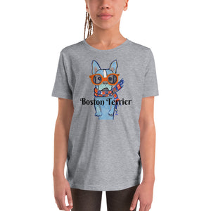 Boston Terrier Youth T-Shirt I White / Grey - pickie shop