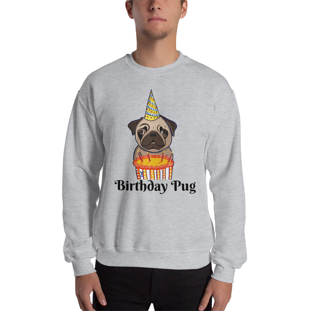 Birthday Pug Sweatshirt I White / Grey - pickie shop
