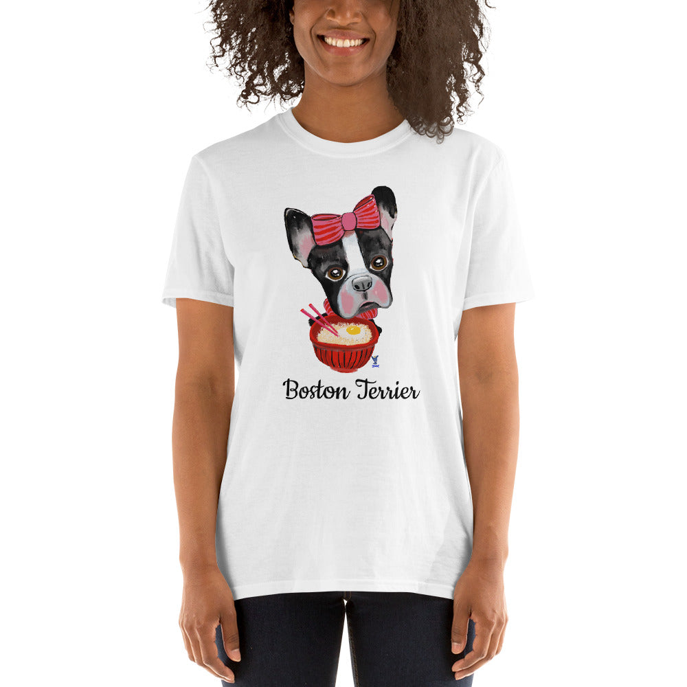 Boston Terrier eating Ramen T-Shirt I White / Grey - pickie shop