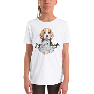 Yoga with Beagle Youth T-Shirt I White / Grey - pickie shop