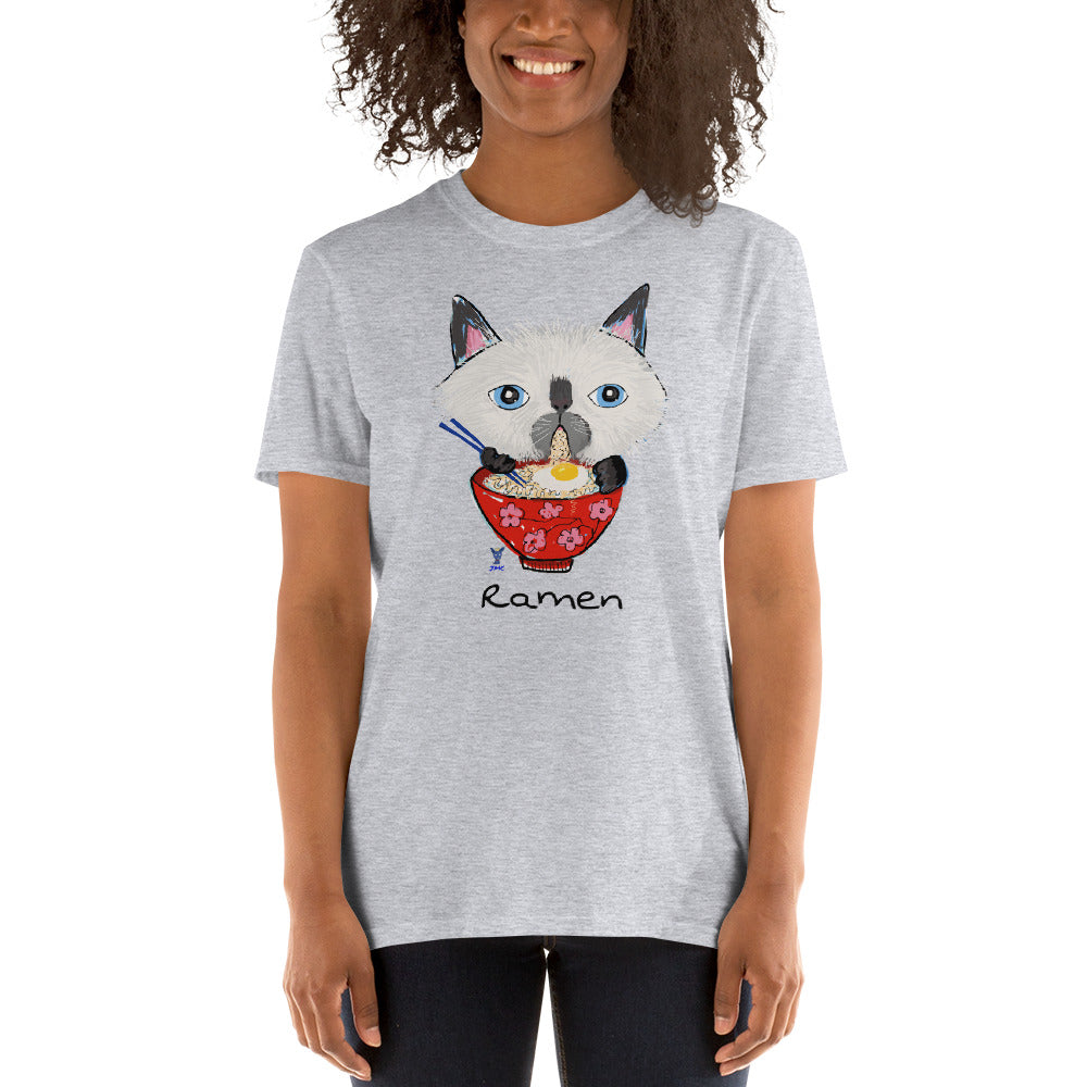 Siamese Cat eating Ramen T-Shirt I White / Grey - pickie shop