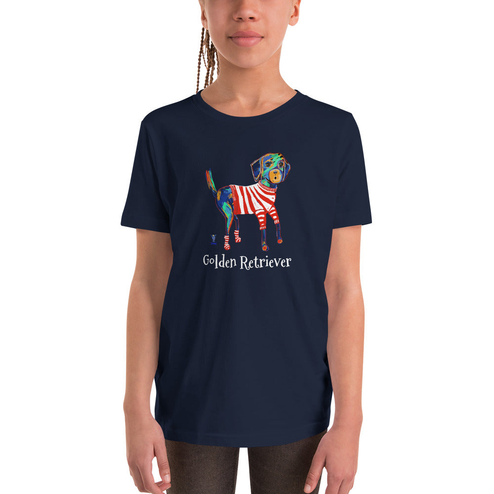 Picasso Golden Retriever Youth T-Shirt I Black / Navy - pickie shop