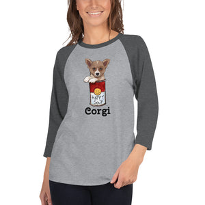 Corgi in the Happy Soup 3/4 sleeve raglan shirt I 10 colors - pickie shop