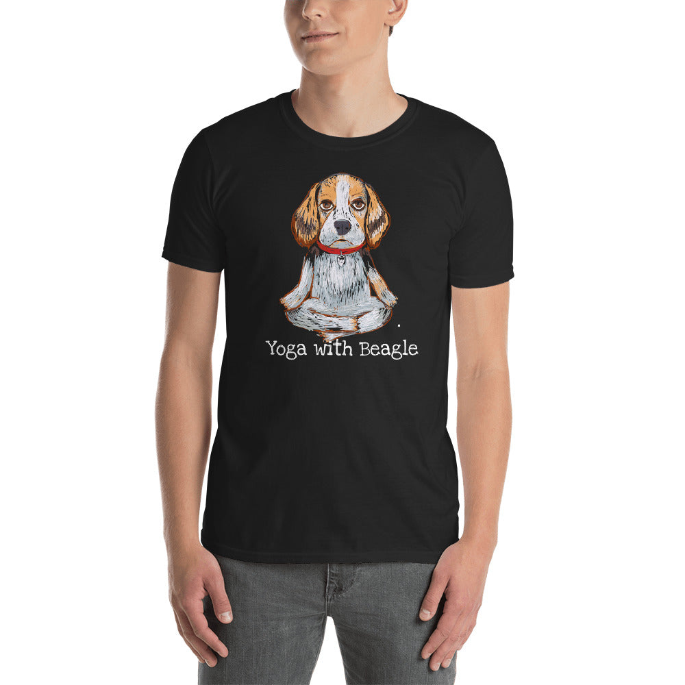 Yoga with Beagle T-Shirt I Black / Navy - pickie shop
