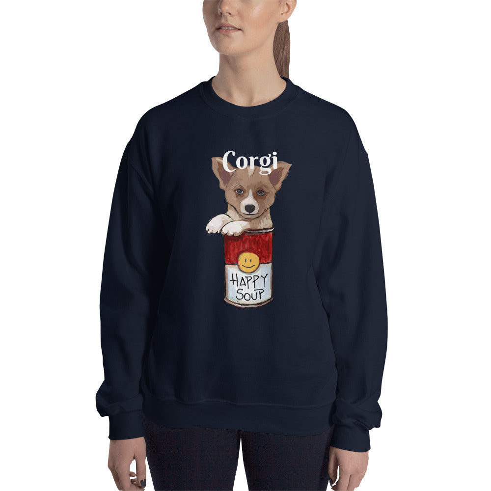 Corgi in the Happy Soup Sweatshirt I Black / Navy - pickie shop