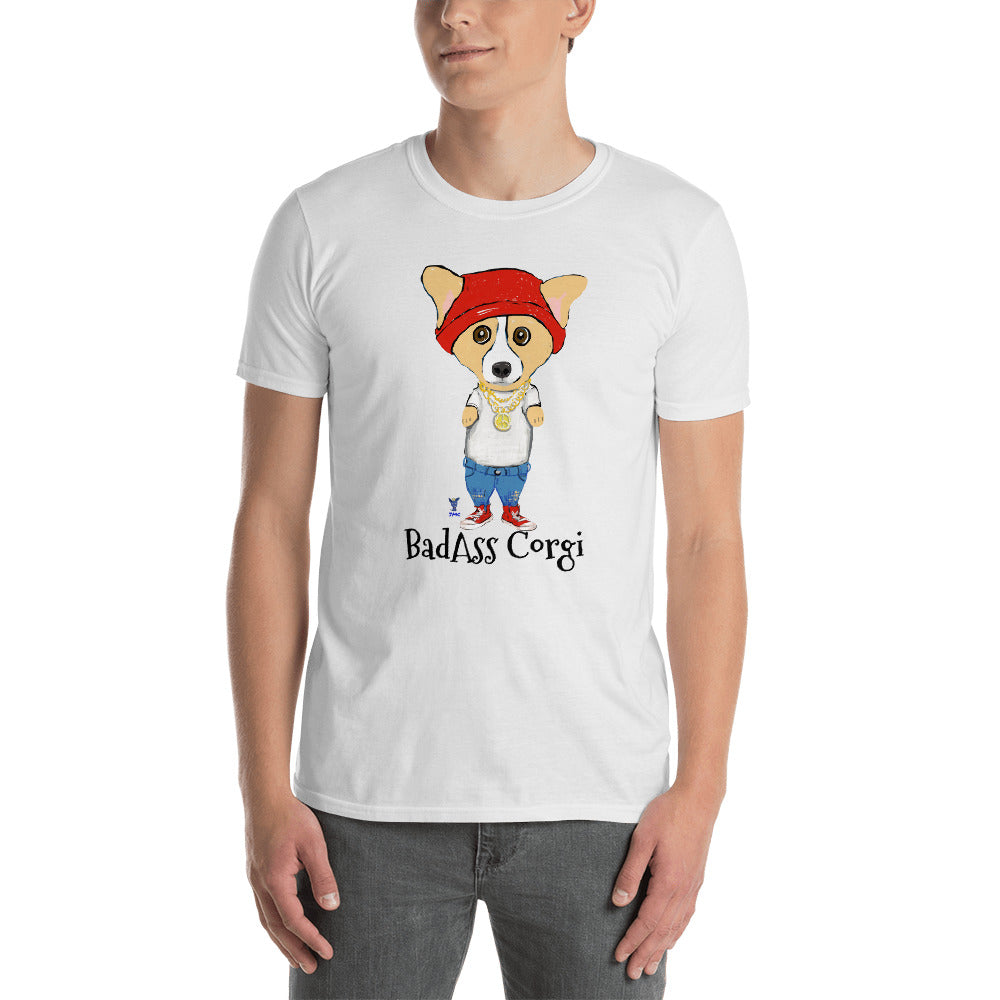 BadAss Corgi T-Shirt I White / Grey - pickie shop