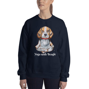 Yoga with Beagle Sweatshirt I Black / Navy - pickie shop