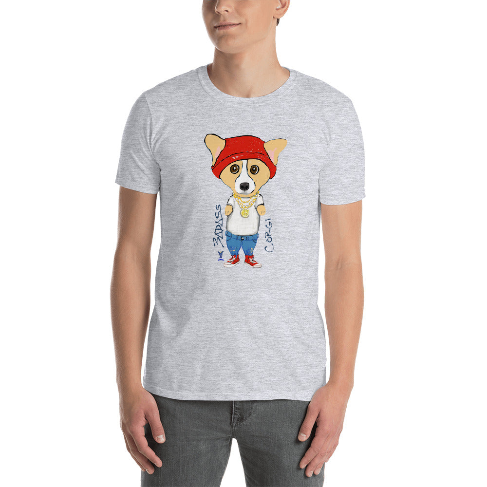 BADASS Corgi T-Shirt I White / Grey (no personalization) - pickie shop