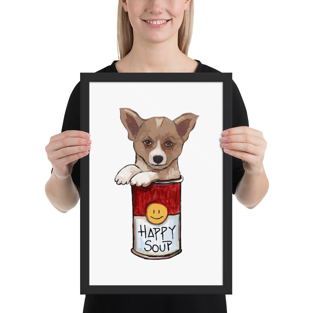 Corgi in the Happy Soup Framed poster - pickie shop