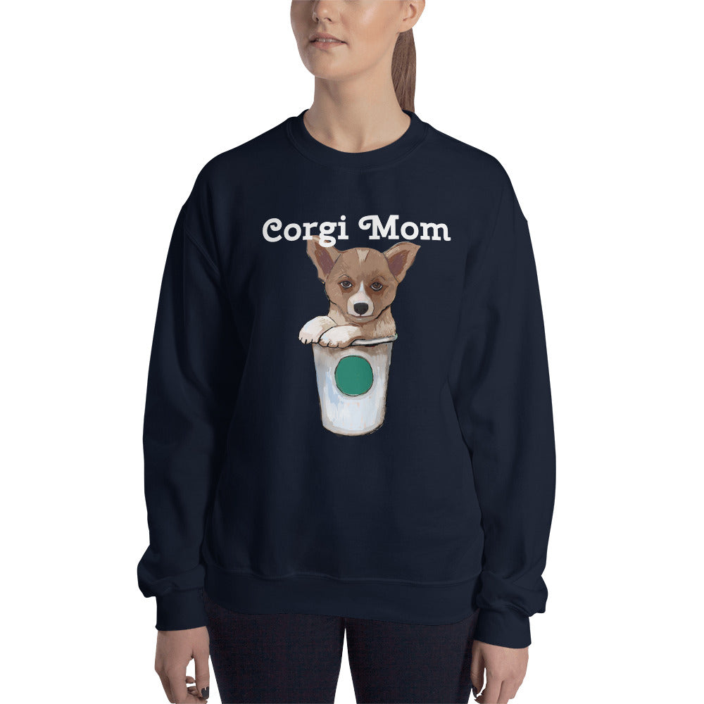 Corgi loves coffee Sweatshirt I Black / Navy - pickie shop