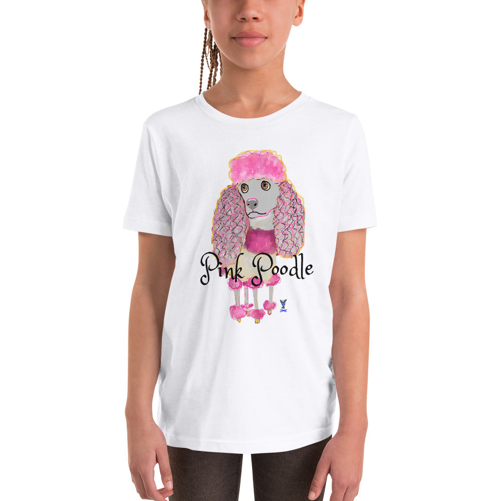 Pink Poodle Youth T-Shirt I White / Grey - pickie shop