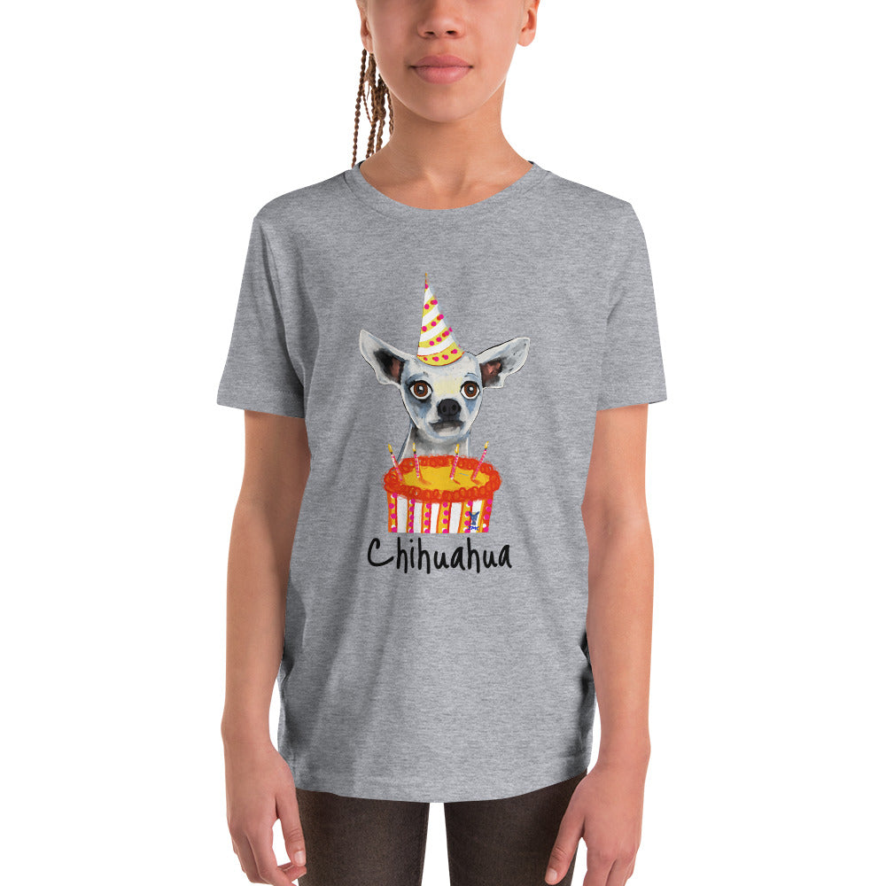 Birthday Chihuahua Youth  T-Shirt I White / Grey - pickie shop