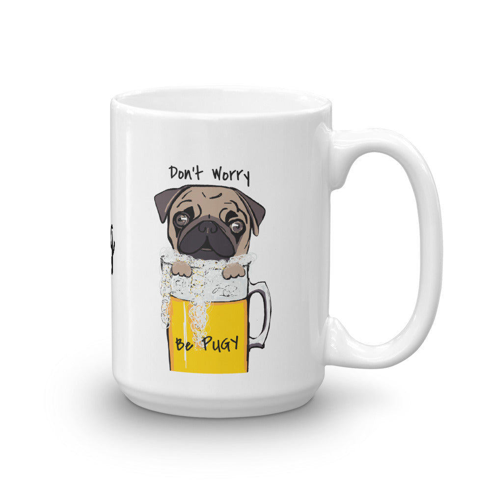 Pug Coffee Mug I Don't Worry Be Pugy! - pickie shop
