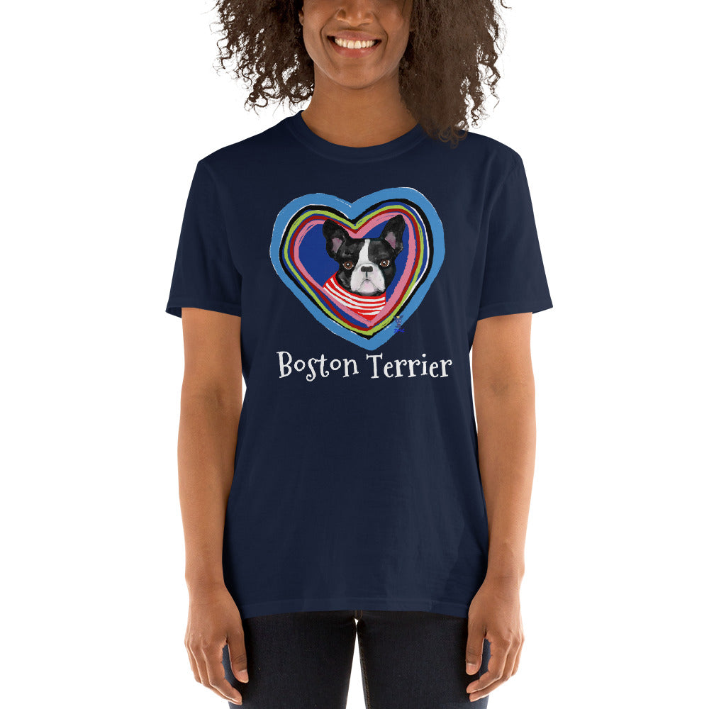 Boston Terrier in the Heart T-Shirt I Black / Navy - pickie shop