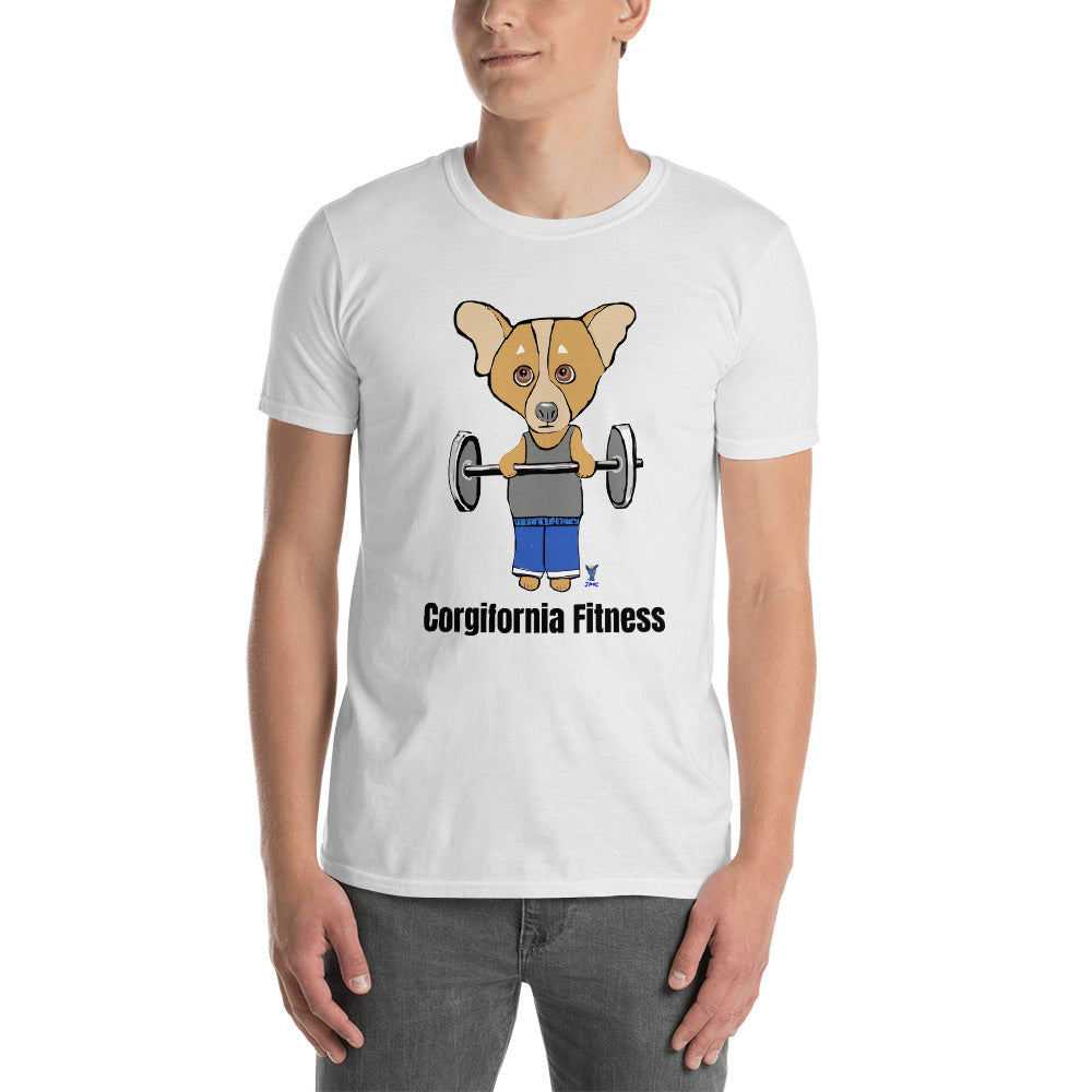 Corgi Body Builder T-Shirt I White / Grey - pickie shop