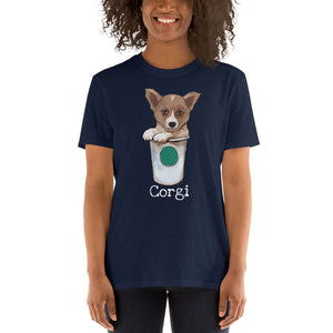 Corgi loves coffee T-Shirt I Black / Navy - pickie shop