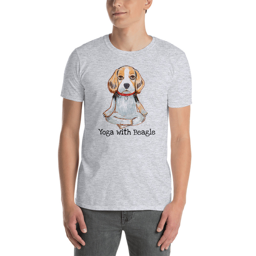 Yoga with Beagle T-Shirt I White / Grey - pickie shop