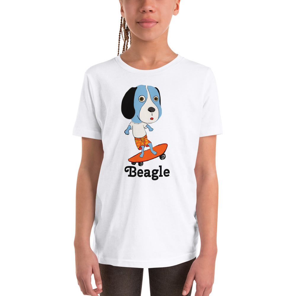 Skateboarding Beagle Youth T-Shirt / White / Grey - pickie shop