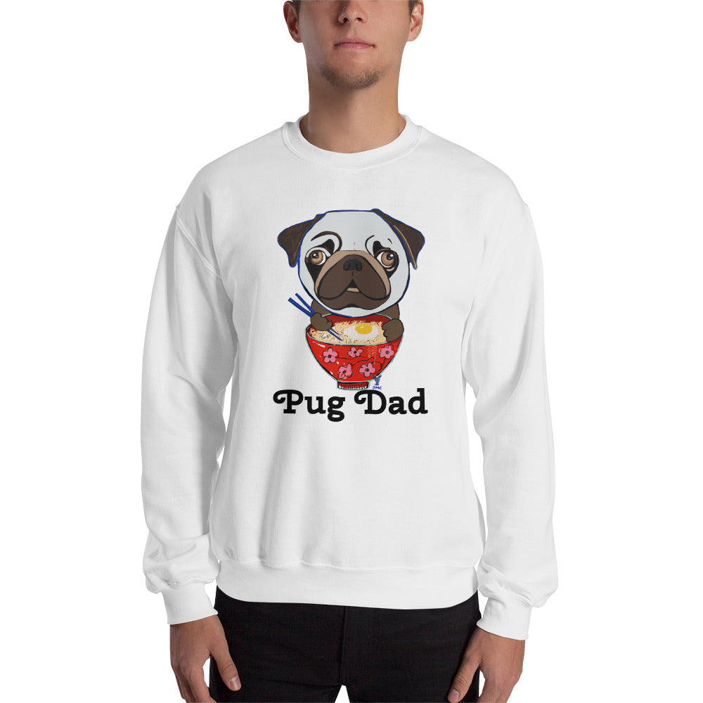Pug eating Ramen Sweatshirt I White / Grey - pickie shop