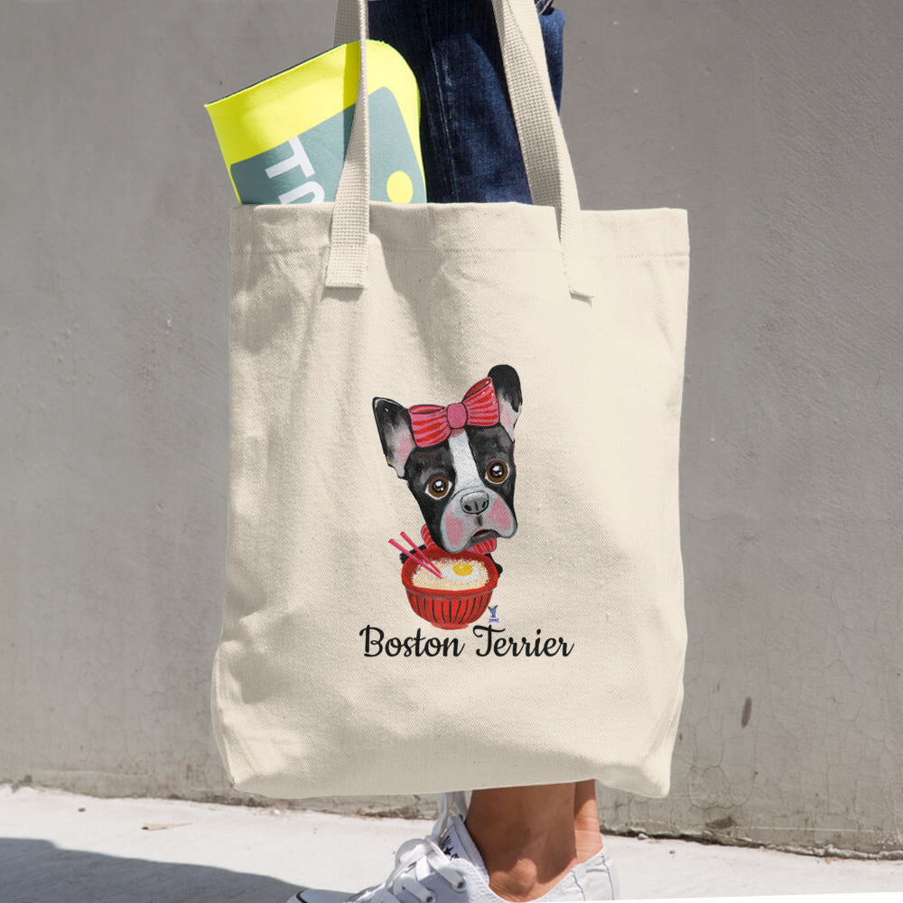 Boston Terrier eating Ramen Cotton Tote Bag - pickie shop
