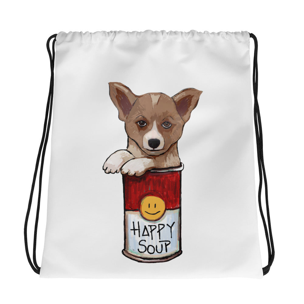 Corgi in the Happy Soup Drawstring bag - pickie shop