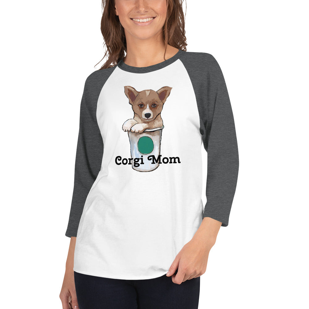Corgi loves coffee 3/4 sleeve raglan shirt I 10 colors - pickie shop