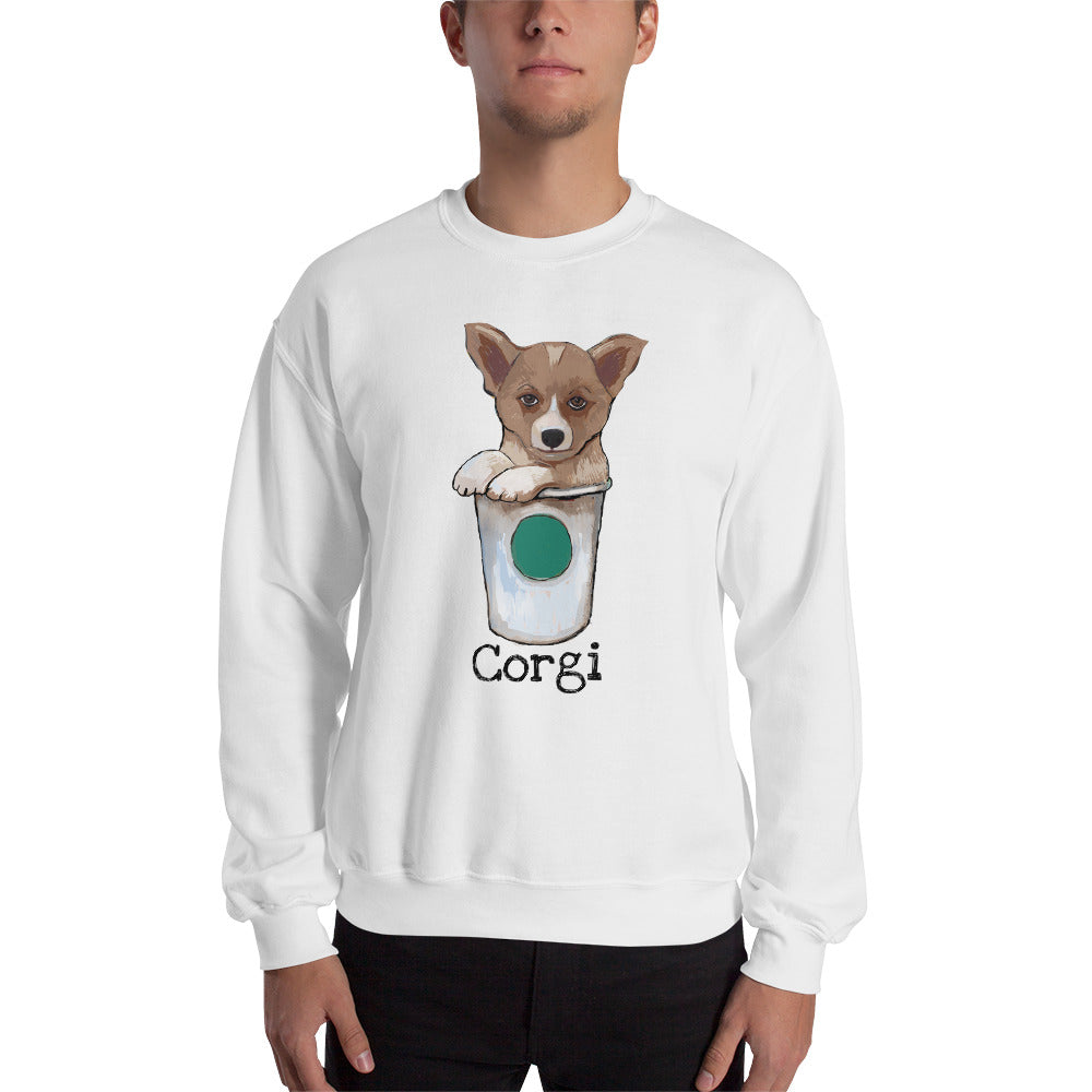 Corgi loves Coffee Sweatshirt I White / Grey - pickie shop