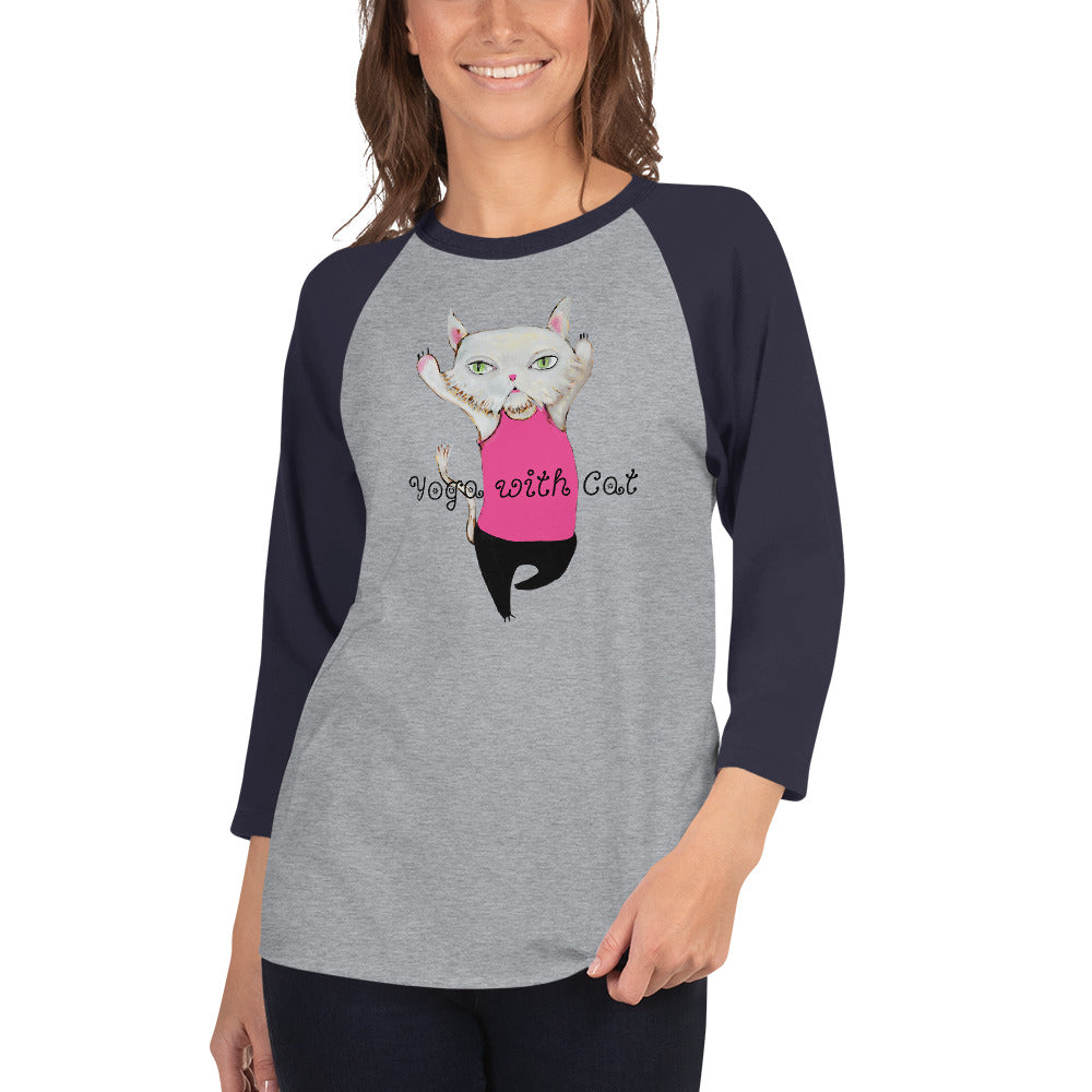 Yoga with Cat 3/4 sleeve raglan shirt I 10 colors - pickie shop