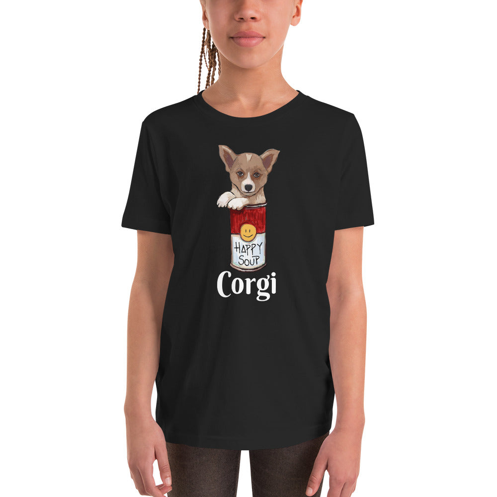 Corgi in the Happy Soup Youth T-Shirt I Black / Navy - pickie shop