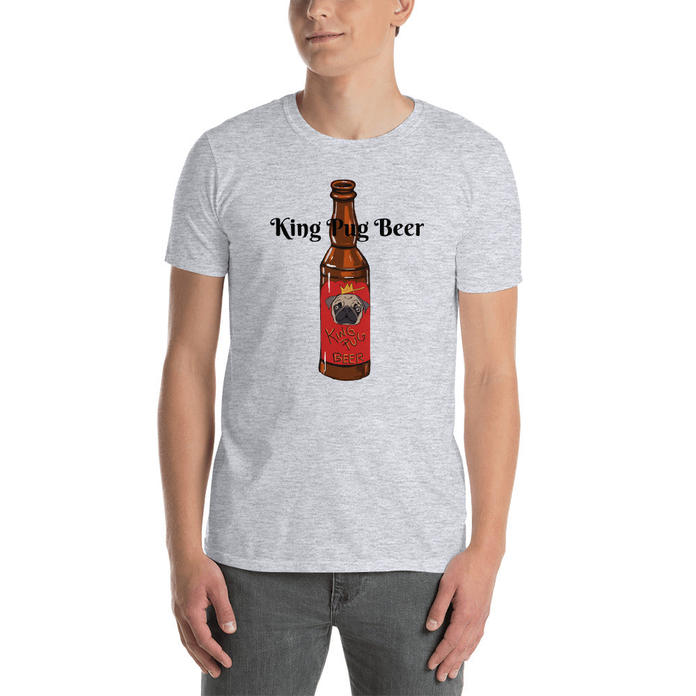 King Pug Beer T-Shirt I White / Grey - pickie shop