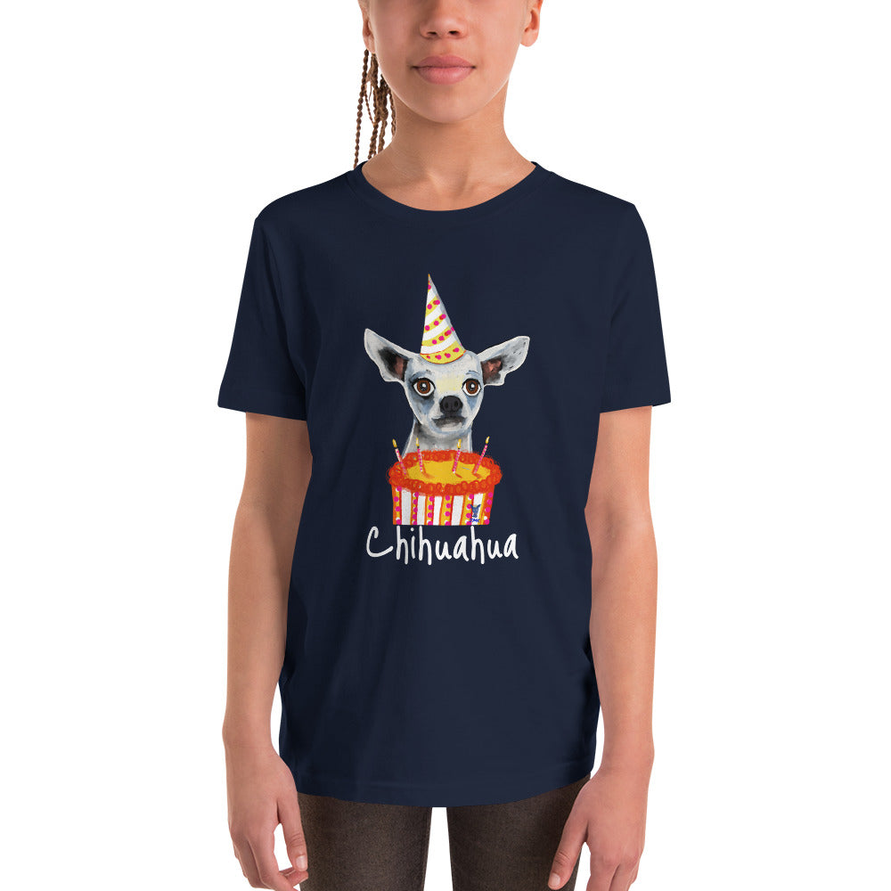Birthday Chihuahua Youth T-Shirt I Black / Navy - pickie shop