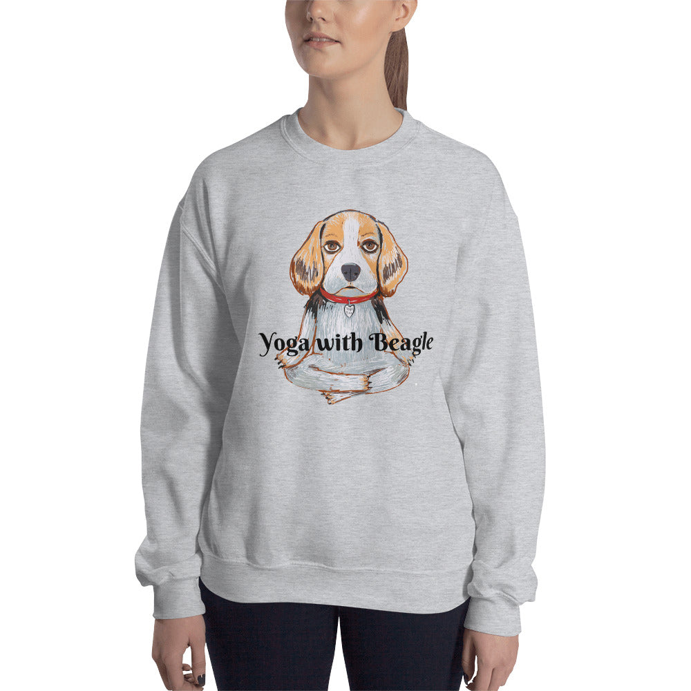 Yoga with Beagle Sweatshirt I White / Grey - pickie shop
