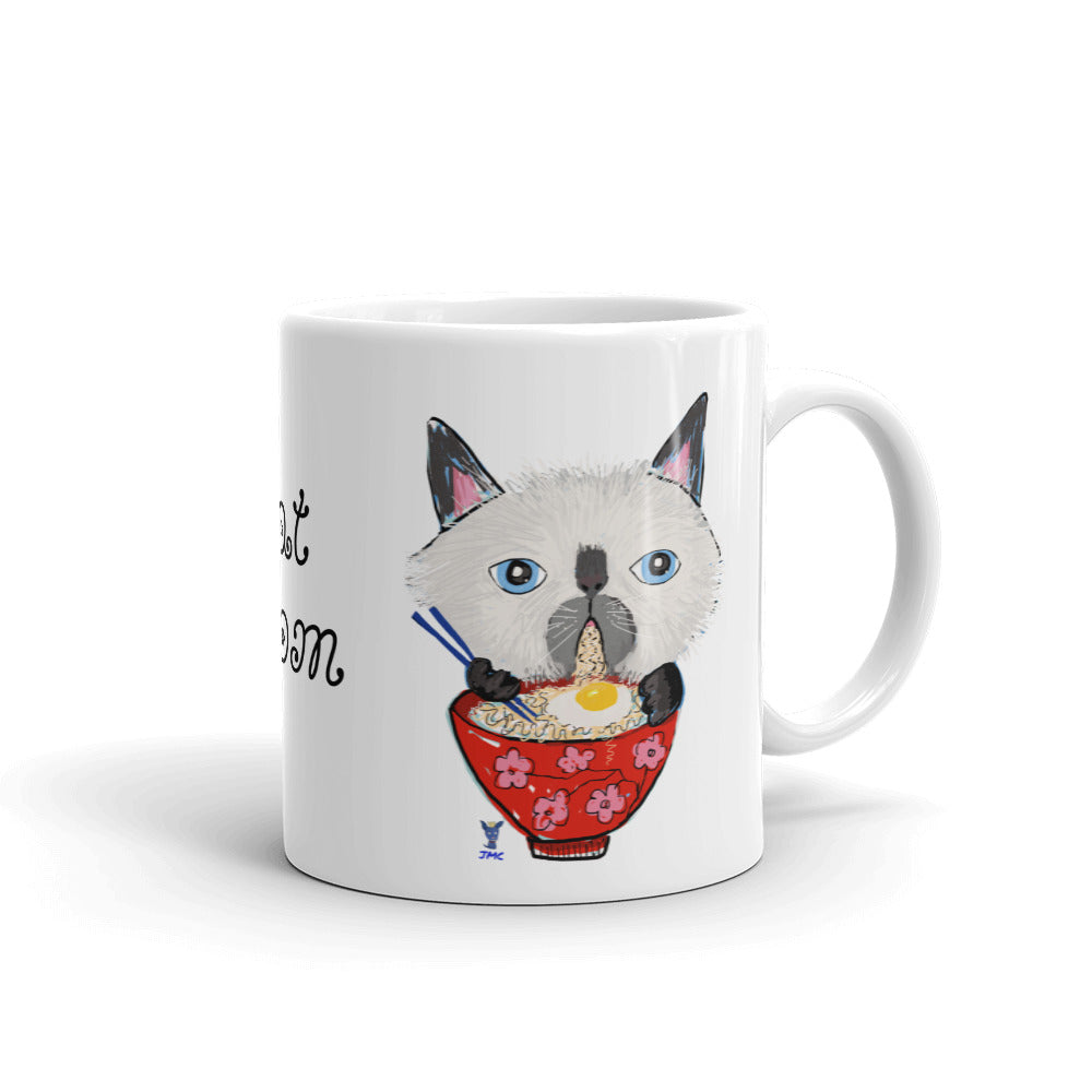 Siamese Cat eating Ramen Coffee Mug - pickie shop