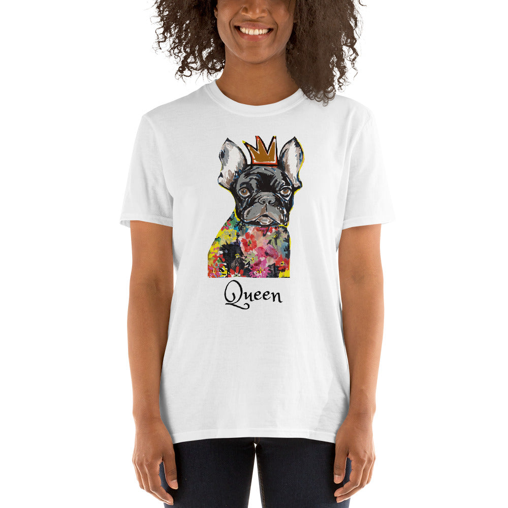 Queen French Bulldog T-Shirt I White / Grey - pickie shop