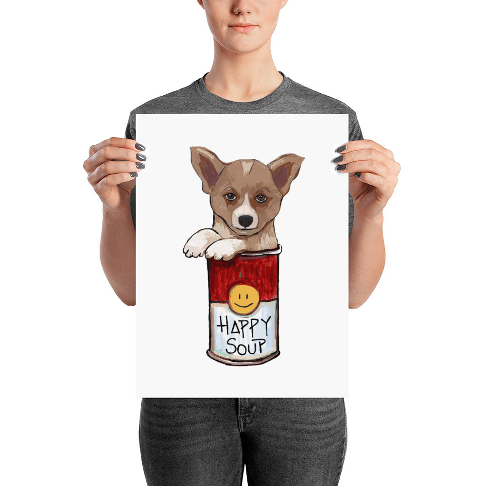 Corgi in the Happy Soup Poster - pickie shop