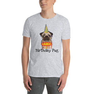 Birthday Pug T-Shirt I White / Grey - pickie shop