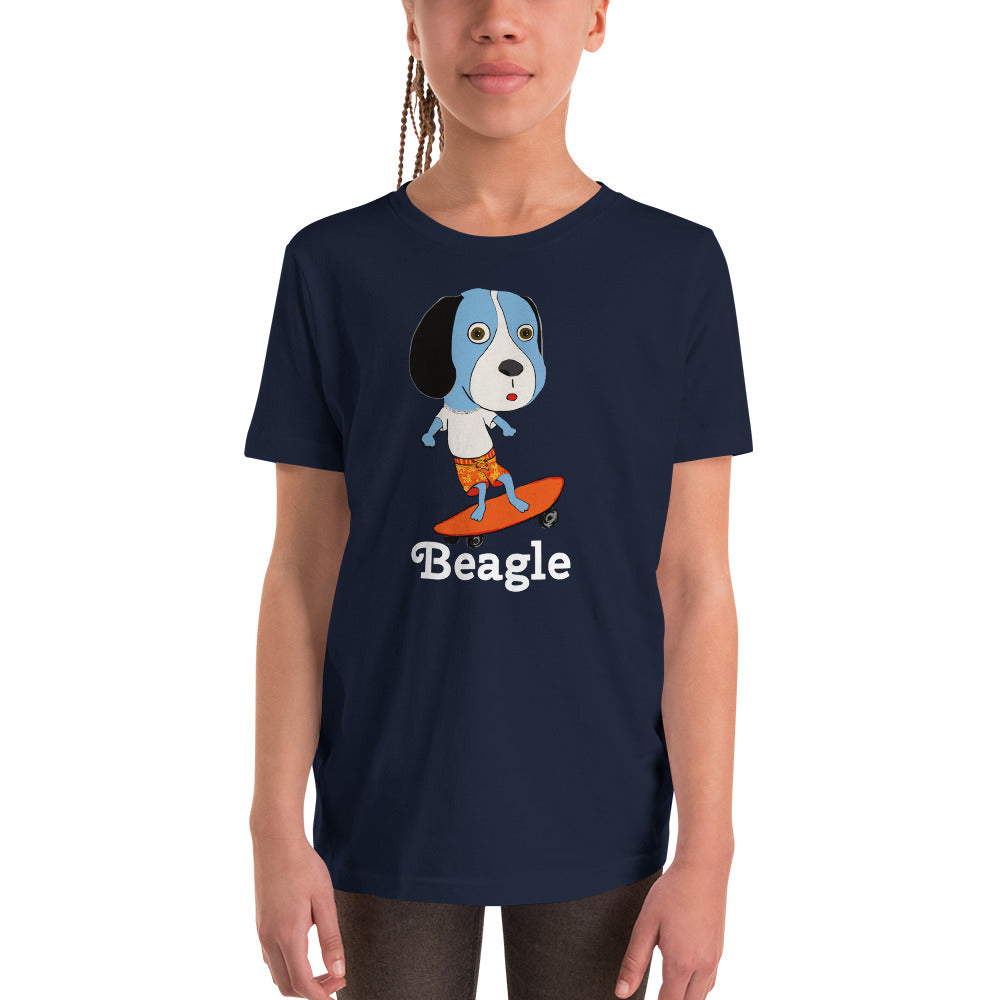 Skateboarding Beagle Youth T-Shirt I Black / Navy - pickie shop