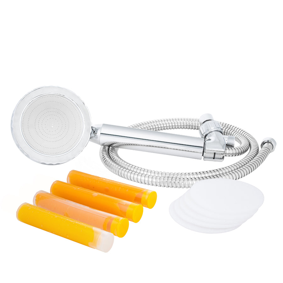 Large Handheld Shower Head with Hose and Bracket + Citrus Mango 3 Pack + Microfiber Filter 5 Pack