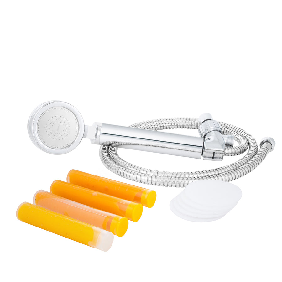 Medium Handheld Shower Head with Hose and Bracket + Citrus Mango 3 Pack + Microfiber Filter 5 Pack