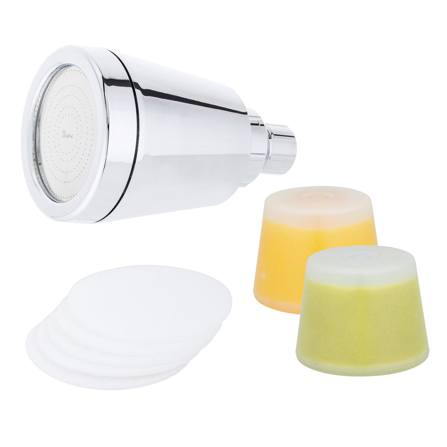 Jet Wall Fixture + Additional Eucalyptus Vitamin C Cartridge + Microfiber Filter 5 Pack