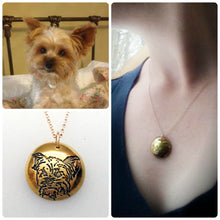 Load image into Gallery viewer, Personalized Pet Portrait Pendant in 22k Gold